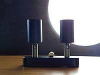 Настенный светильник, спот поворотный, потолочная лампа, на две лампы mini, черный цвет, фото 1