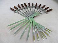 Купить качественные шампуры ручной работы из нержавеющей стали с деревянной ручкой - 12 штук