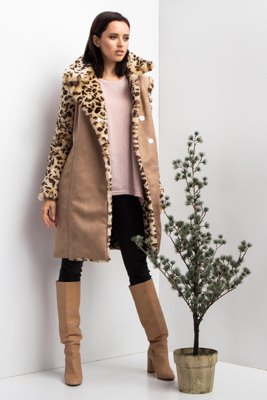 Замшевое пальто LEO на флисе с рукавами из меха и широким воротником