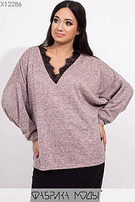 Ангоровая женская кофта в больших размерах с рукавом летучая мышь 1ba460