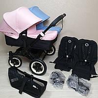Детская коляска для двойни Bugaboo Donkey Twin Black&Soft Pink/Ice Blue Бугабу