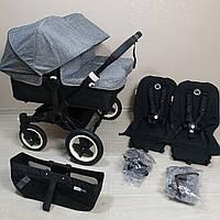 Детская коляска для двойни Bugaboo Donkey Twin Black&Grey Melange Бугабу