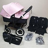 Детская коляска для двойни Bugaboo Donkey Twin Black&Soft Pink Бугабу