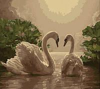 Картина для рисования по номерам 40х50см Лебеди
