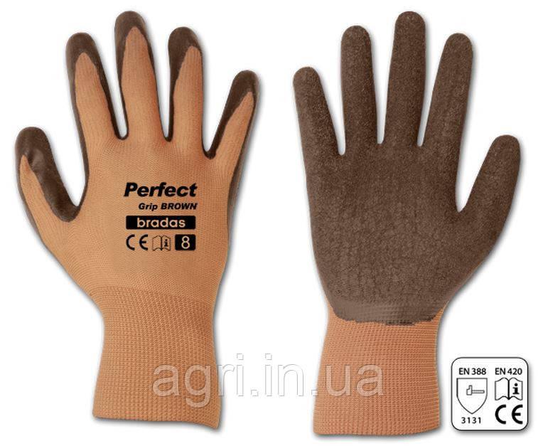 Перчатки рабочие PERFECT GRIP BROWN латекс, размер 8