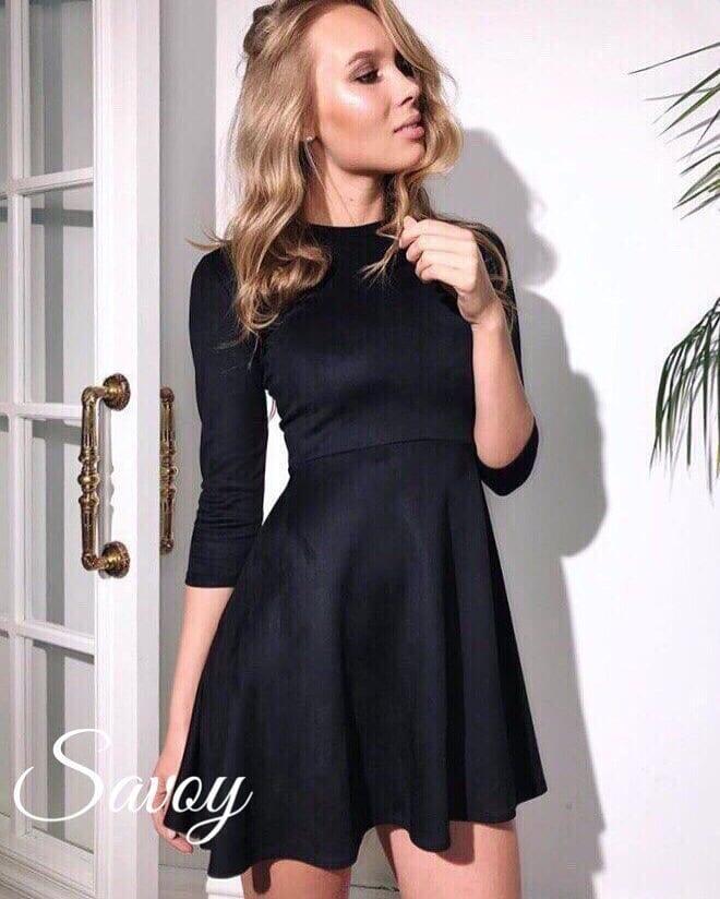 Женское замшевое платье с рукавом три четверти