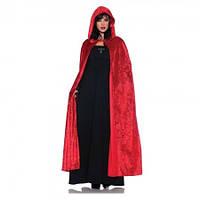 Плащ-накидка карнавальный велюровый с карюшоном красный 125 см.