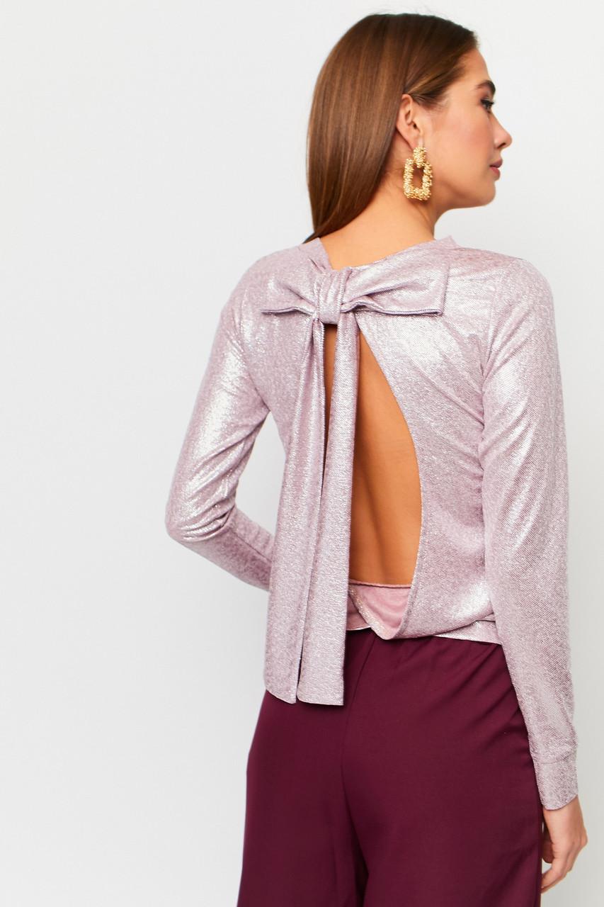 Вечерняя женская розовая кофточка с бантом на спине