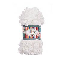 Пряжа для вязания руками (100%-микрополиэстер, 100г/14м) Alize PUFFY FINE 55 (белый)