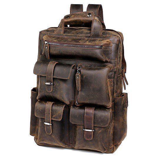 Рюкзак дорожный Vintage из натуральной кожи в коричневом цвете  14709