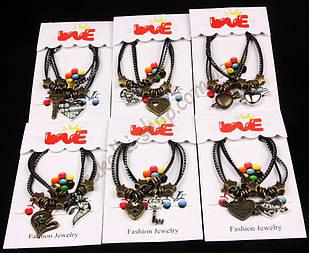 Браслеты половинки сердечки ключики I love you античное золото + серебристые, 6 моделей, 12 пар в упаковке