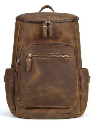 Дорожный рюкзак матовый Vintage из натуральной кожи в коричневом цвете 14887