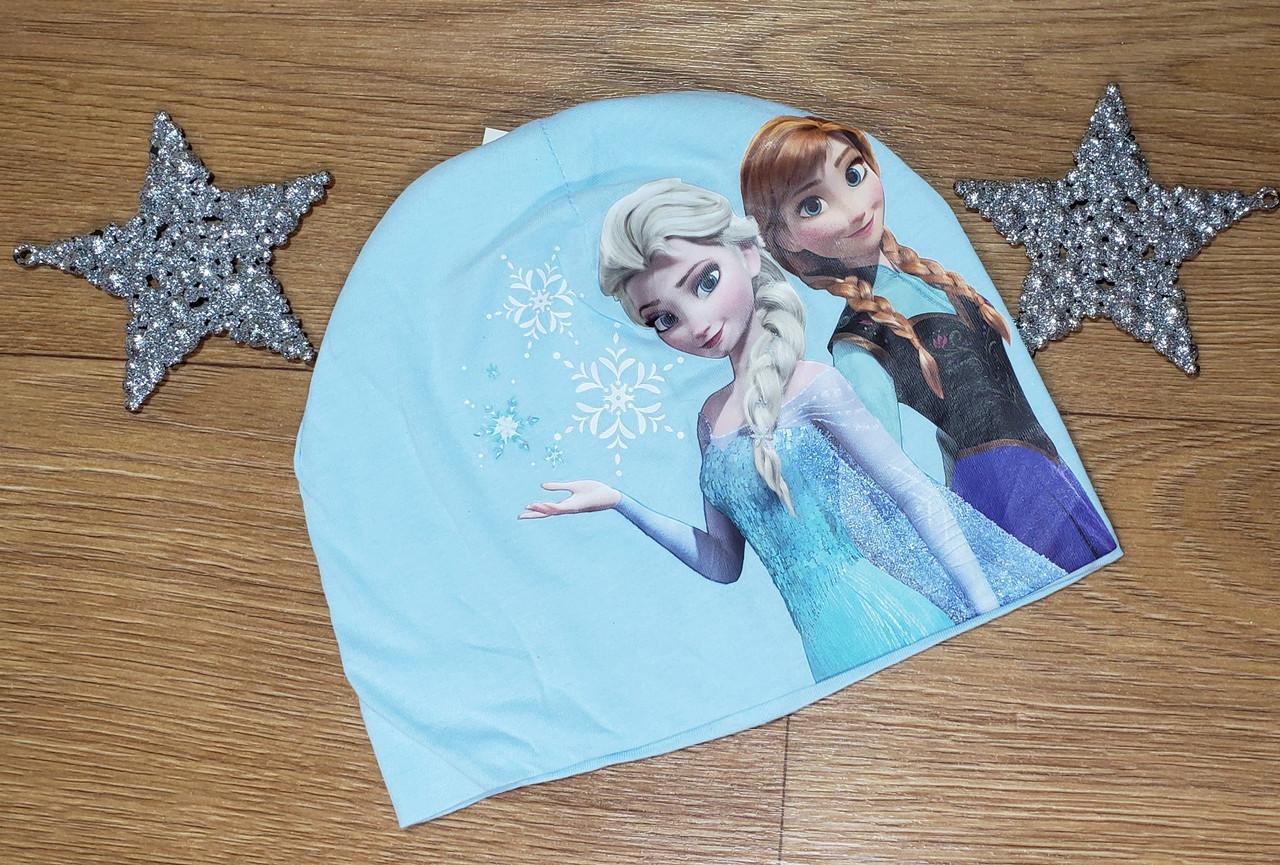 Тоненькая голубая шапочка с Эльзой и Анной H&M (Англия) (Размер 4-8Т)
