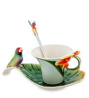 "Чайная пара ""Попугай"" 110 мл., 2 пр., фарфор Pavone, Италия"