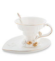 """Чайный набор """"Морская ракушка"""" 150 мл., 2 пр., фарфор Pavone, Италия"""