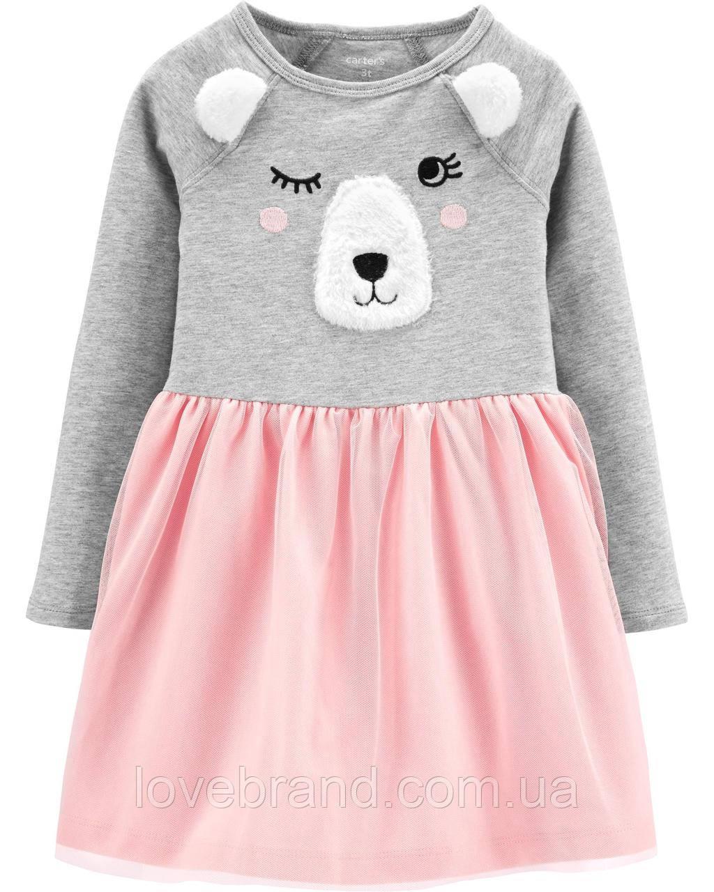 Платье для девочки Carter's с мишуткой, платице детское на длинный рукав с фатиновой юбкой 2Т/86-93