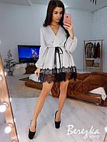Роскошное блестящее расклешенное платье с кружевом