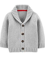Вязаная кофта для мальчика Carter's под рубашку, нарядная на пуговицы серая картерс 12 мес/72-78 см