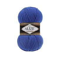 Полушерстяная пряжа (49%-шерсть,51%-акрил,100г/240м) Alize Lanagold 141(василёк)