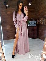 Изумительное вечернее платье в пол из трикотажа с люрексом