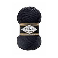 Полушерстяная пряжа (49%-шерсть,51%-акрил,100г/240м) Alize Lanagold 60(чёрный)