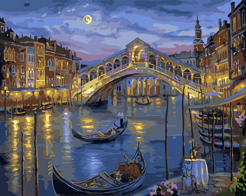 Картина по номерам на холсте Венеция. Мост Риальто
