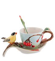 """Чашка с блюдцем """"Вишенки"""" 150 мл., 2 пр., фарфор Pavone, Италия"""