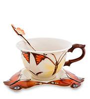 "Чайный набор ""Бабочка"" 200 мл., 2 пр., фарфор Pavone, Италия"