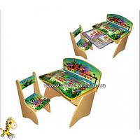 Парта Джунгли с выдвижным ящиком для канцтоваров регулируется по высоте для детей 2-7 лет