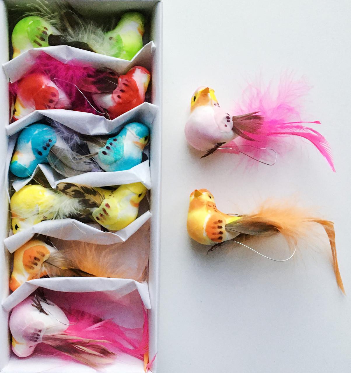 Птицы из перьев (10 см, 12 шт)