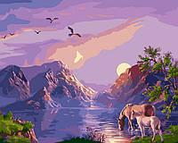 Картина для рисования по номерам на холсте 40х50см Закат в горах
