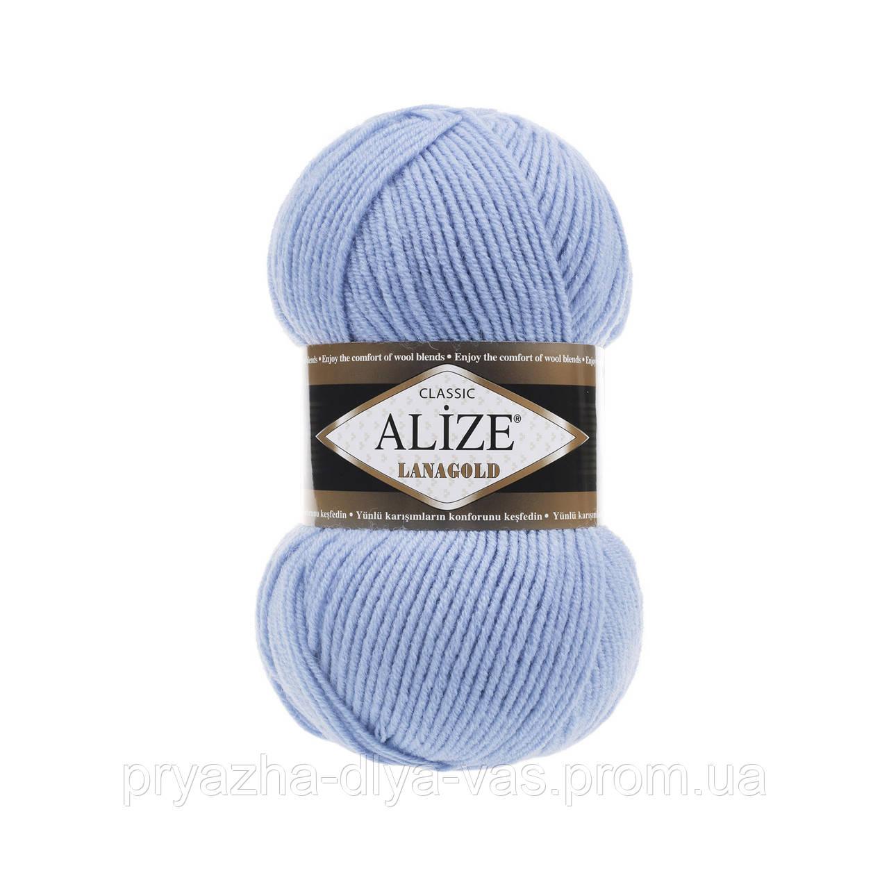 Полушерстяная пряжа (49%-шерсть,51%-акрил,100г/240м) Alize Lanagold 40(голубой)