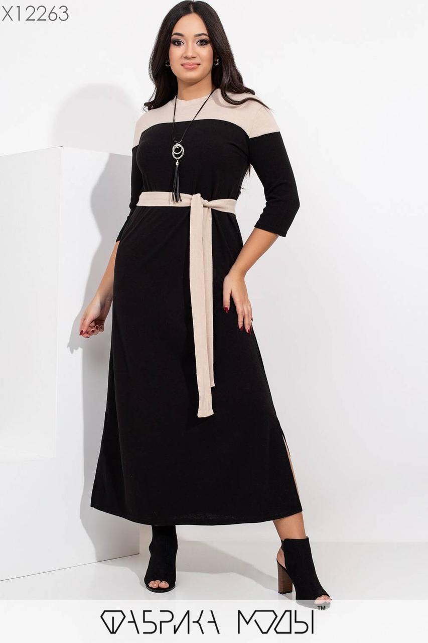 Длинное ангоровое платье в больших размерах с контрастными вставками и поясом 1uk468