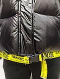 Куртка женская с капюшоном зимняя, черного цвета с желтыми вставками, фото 6