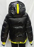 Куртка женская с капюшоном зимняя, черного цвета с желтыми вставками, фото 10