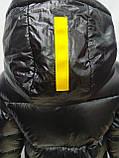 Куртка женская с капюшоном зимняя, черного цвета с желтыми вставками, фото 8