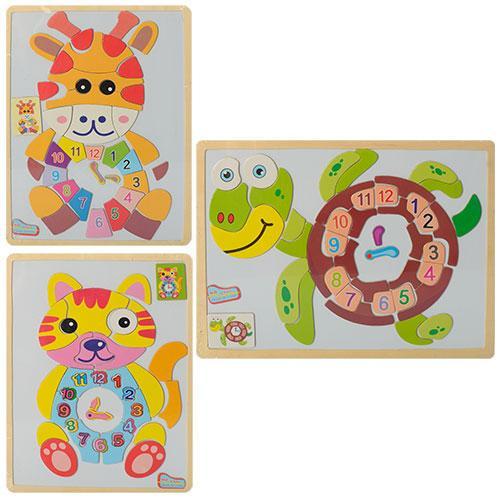 Деревянная игрушка Пазлы M00513-14-15 (60шт) часы,магнитные,3 вида(животные),в кульке, 30-22,5-0,5см