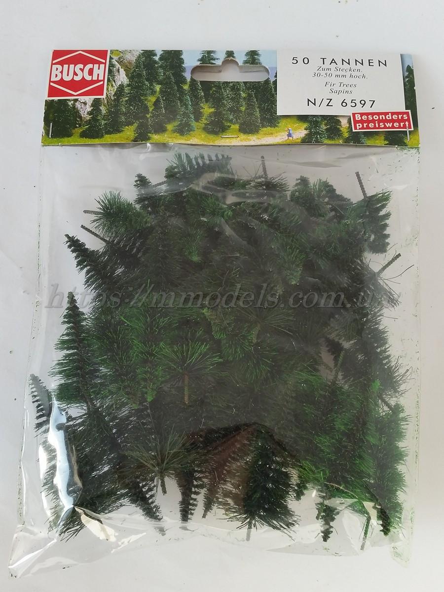Busch 6597 Набор  хвойный лес комплект из 50 елок ~30-50 мм) N,TT,H0