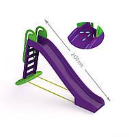 Горка детская пластиковая большая фиолетовая с зеленым от 2х лет Doloni Toys - длинна 240см высота 151см