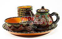 Сервиз узбекский 3D 10 предметов, ручная работа (ляган, чайник с блюдцем, миска, 6 шт. пиал) (вариант 1)