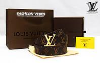 Ремень кожаный Louis Vuitton коричневая монограмма ЛВ