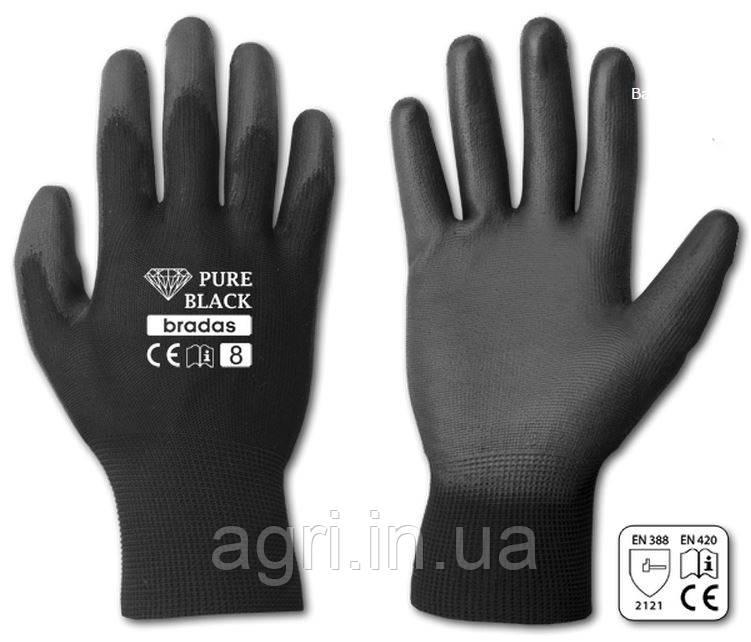 Перчатки рабочие PURE BLACK полиуретан, размер 8