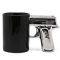 Чашка пистолет Черная с серебреной ручкой