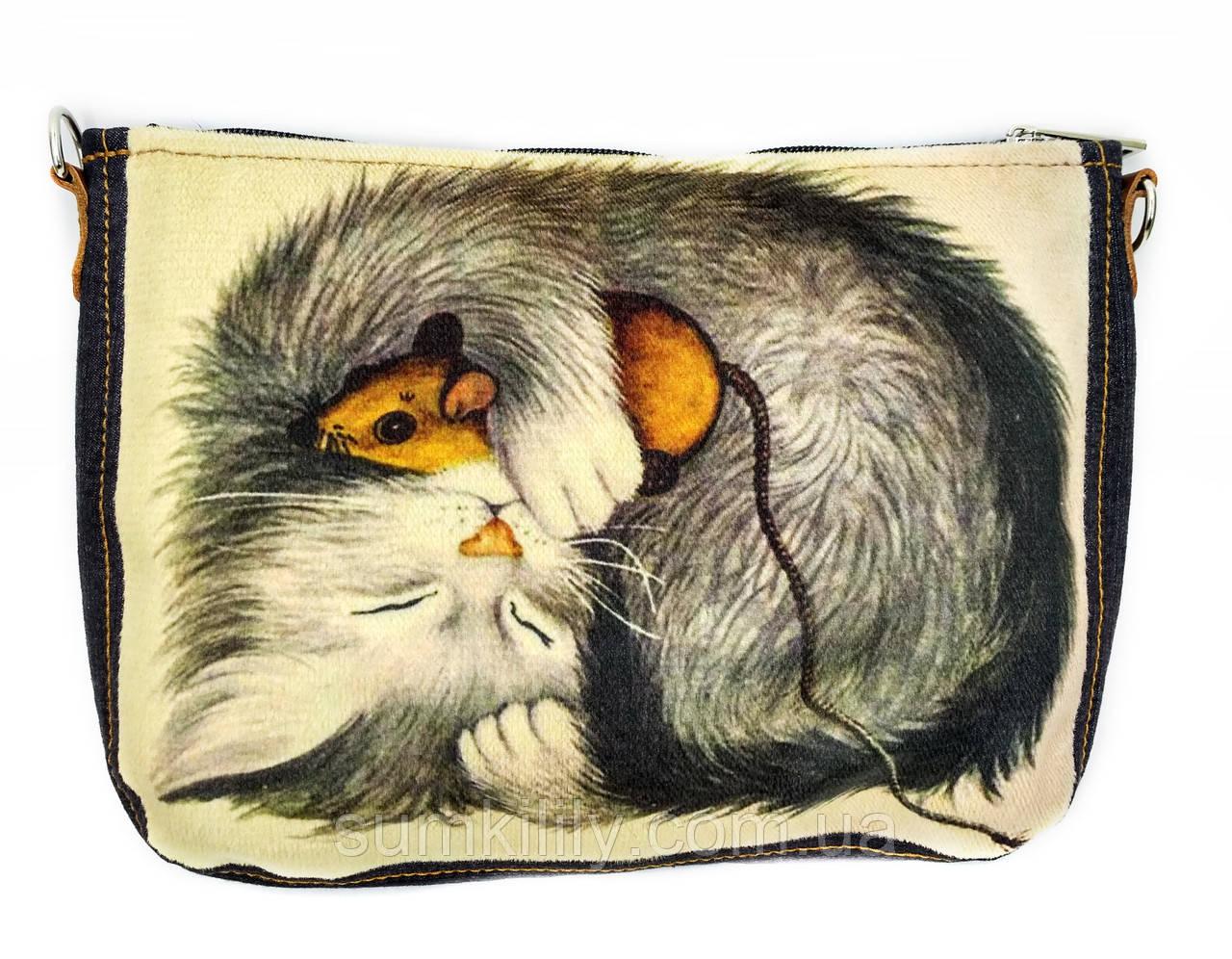 Джинсовая сумка КОТ С МЫШКОЙ
