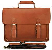 Кожаный портфель матовый Vintage в рыжем цвете  14937