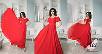 Длинное однотонное шифоновое платье с очень пышной юбкой. 3 цвета!