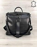 Кожаная  сумка рюкзак Angelo черного цвета, фото 1