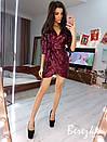 Платье из пайетки на запах с рукавом 3/4 и асимметричной юбкой 66plt654Q, фото 2
