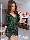 Платье из пайетки на запах с рукавом 3/4 и асимметричной юбкой 66plt654Q, фото 3
