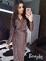 Платье - футляр из люрекса на запах с длинным рукавом и миди длиной 66plt655Q